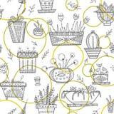 在种族华丽b的花盆和房子植物无缝的样式 图库摄影