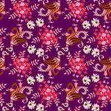在种族样式的动物无缝的装饰品 与翼在佩兹利形状和美丽的花的不可思议的鸟在黑暗的紫色背景 皇族释放例证