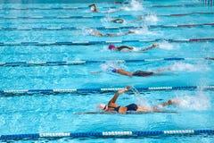 在种族的游泳池 免版税图库摄影