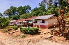 在种植园,危地马拉的工作者的住房 免版税库存照片