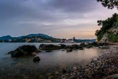 在科孚岛修道院的晚上 库存图片