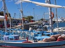 在科孚岛希腊海岛上的小游艇船坞  库存照片