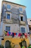 在科孚岛海岛上的老房子 免版税库存图片