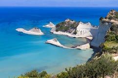 在科孚岛海岛,希腊的海角Drastis 免版税库存照片