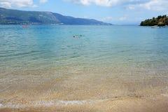 在科孚岛的海滩 图库摄影