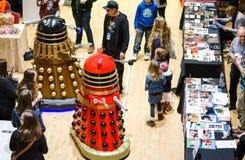 在科学幻想小说斯卡巴勒的Daleks 免版税库存照片