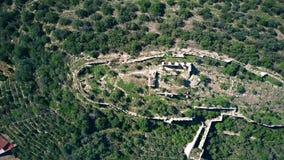 在科尔韦拉德拉里韦拉城堡废墟看法,西班牙下的空中上面 股票视频