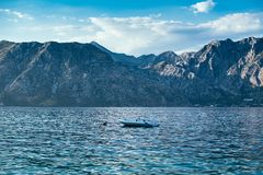 在科托尔海湾,黑山的小船 图库摄影