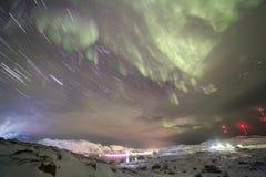 在科拉半岛的北极光 Teriberka,摩尔曼斯克雷希奥 库存图片