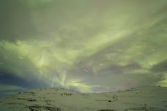 在科拉半岛的北极光 Teriberka,摩尔曼斯克雷希奥 免版税库存照片