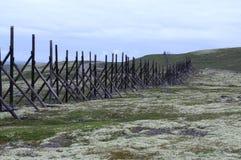 在科拉半岛的老木篱芭 免版税库存图片