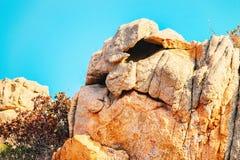 在科斯塔Smeralda的自然山在撒丁岛意大利 库存照片