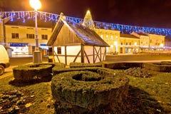 在科普里夫尼察圣诞节视图的老村庄 免版税图库摄影