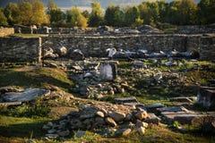 在科洛尼亚省Ulpia Traiana Sarmizegetusa的罗马帝国废墟 库存图片