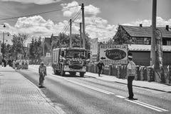 在科珀斯克里斯蒂队伍期间,消防队员冲反应紧急呼叫 库存照片