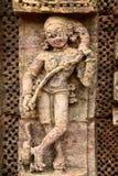 在科纳克太阳神庙(印度)的古老印度寺庙 免版税库存图片