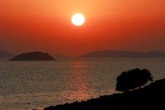 在科纳提群岛海岛,克罗地亚的日落 库存图片