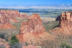 在科罗拉多国家历史文物的纪念碑峡谷在大章克申科罗拉多美国附近 库存照片