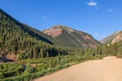在科罗拉多山的路在夏天 免版税库存照片