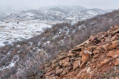 在科罗拉多山麓小丘的暴风雪 库存照片