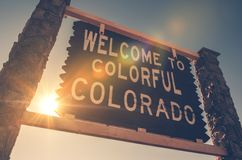 在科罗拉多标志的欢迎 免版税库存图片