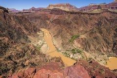 在科罗拉多河的看法在大峡谷里面 免版税库存照片