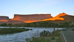 在科罗拉多河,默阿布,犹他的日落 免版税图库摄影