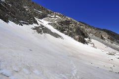 在科罗拉多14er的积雪的高山风景一点熊峰顶 图库摄影