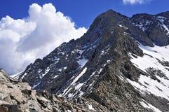 在科罗拉多14er的积雪的高山风景一点熊峰顶 免版税库存照片