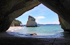 在科罗曼德的大教堂小海湾在北岛,新西兰 库存照片