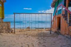 在科苏梅尔海滩的摇摆  库存照片
