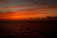 在科苏梅尔附近的日落 库存照片