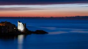 在科西嘉岛风景的日出 库存图片