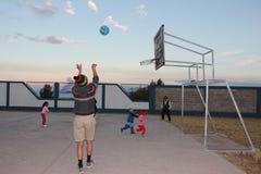 在秘鲁山的篮球 免版税库存照片