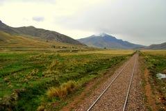 在秘鲁风景的铁路 免版税库存图片