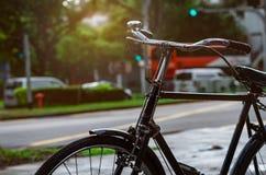 在租的街道附近停放的自行车 自行车游览在新加坡市 环境友好的运输和健康生活方式概念 ?? 免版税库存照片