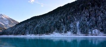 在积雪的森林中的美丽的结冰的湖 库存照片