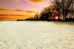 在积雪的海滩的冬天日落 库存图片