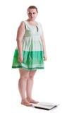 在称前的肥胖妇女 免版税库存图片