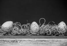 在秸杆的三个鸡蛋 免版税库存图片