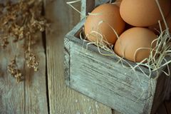 在秸杆的布朗有机鸡蛋在板条厨房用桌上的葡萄酒木箱 米黄干燥花小花束  compisition复活节 免版税库存照片