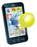 在移动电话外面的网球飞行 免版税库存照片