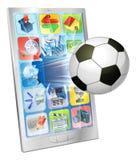 在移动电话外面的足球飞行 库存照片