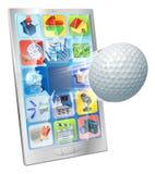 在移动电话外面的高尔夫球飞行 免版税库存图片