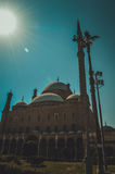 在穆罕默德阿里清真寺的阳光在开罗,埃及 免版税库存图片