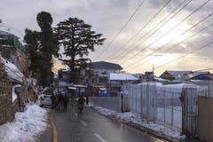 在穆里在冬天,巴基斯坦的日落 库存照片