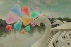 在空气的五颜六色的心脏爱气球浮游物与天鹅脚蹬小船在 库存照片