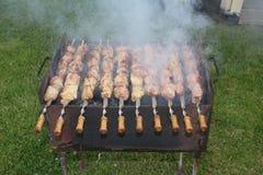 在空气的传统肉格栅 图库摄影