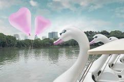 在空气的桃红色心脏爱气球浮游物与天鹅在客栈的脚蹬小船 免版税库存照片