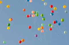 在空气的Baloons 免版税库存照片